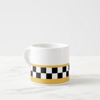 mustard yellow striped checkers espresso cup