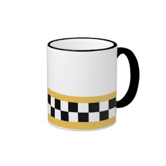 mustard yellow striped checkers ringer mug