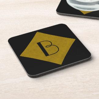 Mustard Yellow Velvet Personalized Home Casino Drink Coasters