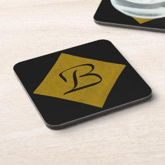 Mustard Yellow Velvet Personalized Home Casino Beverage Coaster