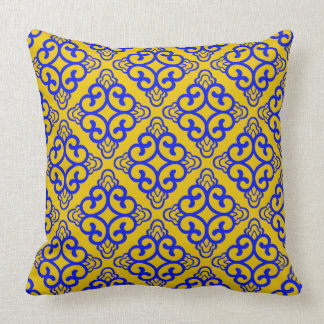 Mustard Yellow Vintage Chinese Square Floral Throw Pillow
