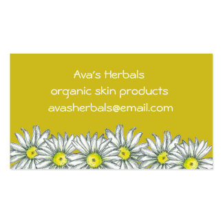 Mustard Yellow White Daisy Flower Drawing Business Card