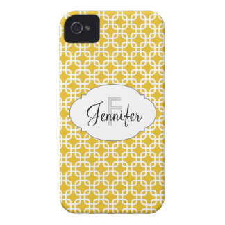 Mustard Yellow & White Personalized iPhone 4/4s iPhone 4 Cover