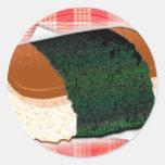 Musubi hawaiano etiquetas redondas
