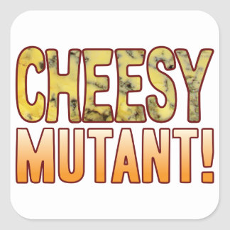 Mutant Blue Cheesy Square Sticker