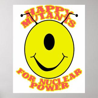 Mutantes felices para el poster de la energía atóm