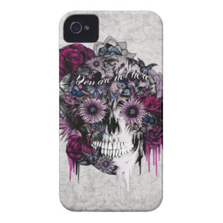 Mute bright pink and grey floral skull iPhone 4 covers