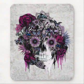 Mute, bright pink and grey floral skull mouse pad