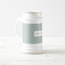 Mute green tile pattern. Add custom text. Beer Stein
