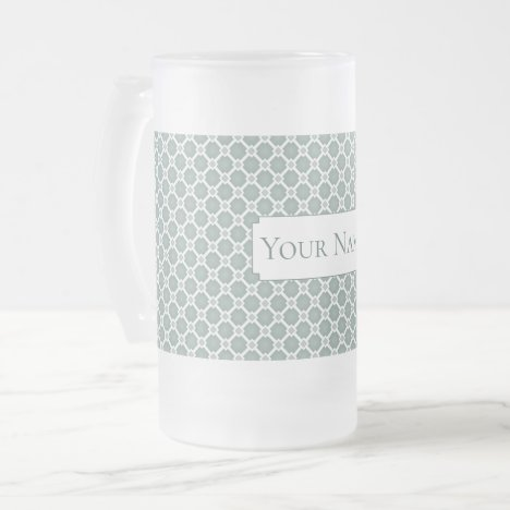 Mute green tile pattern. Add custom text. Frosted Glass Beer Mug