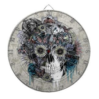 Mute, sunflower skull damask dart board