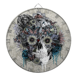 Mute, sunflower skull damask dart boards