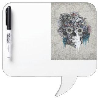 Mute, sunflower skull damask dry erase boards
