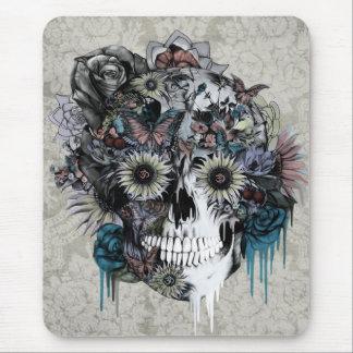 Mute, sunflower skull damask mouse pad