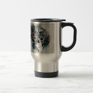 Mute, sunflower skull damask travel mug