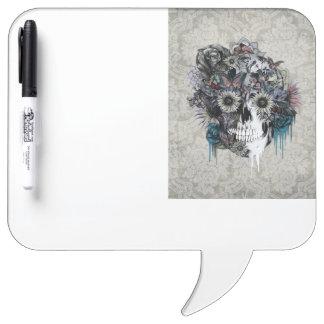 Mute, sunflower skull Dry-Erase whiteboard