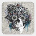 Mute, sunflower skull square sticker