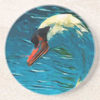 Mute Swan Abstract Impressionism Drink Coaster