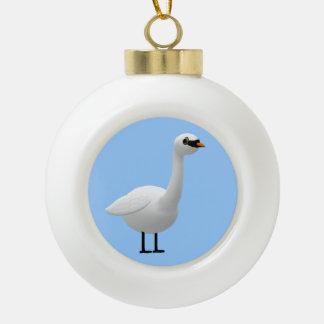 Mute Swan Ceramic Ball Christmas Ornament