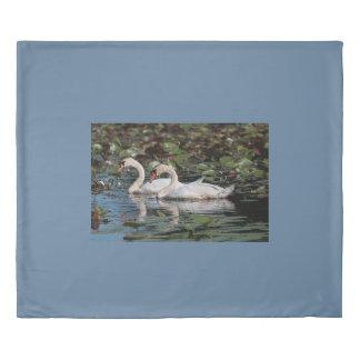 Mute swan couple duvet cover