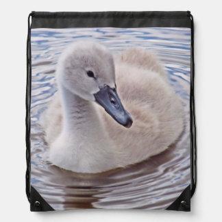 Mute Swan Cygnet Drawstring Backpack