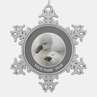 Mute Swan cygnets. Snowflake Pewter Christmas Ornament