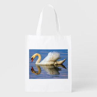 Mute swan, cygnus olor grocery bag
