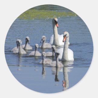 Mute Swan Family Round Stickers