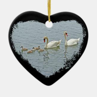 Mute Swan Famly Ceramic Ornament