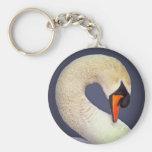 Mute swan head and neck portrait basic round button keychain