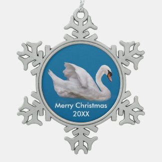 Mute Swan on Blue, Customizable Text Snowflake Pewter Christmas Ornament