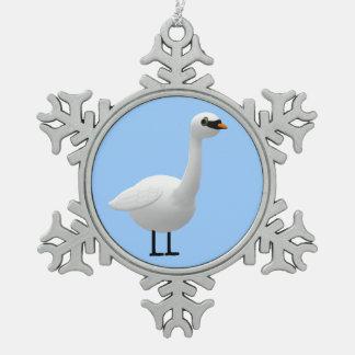 Mute Swan Snowflake Pewter Christmas Ornament