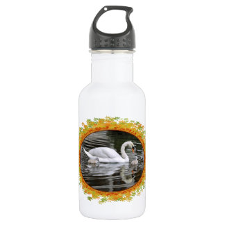 Mute swans with nestlings on water in frame of lea stainless steel water bottle
