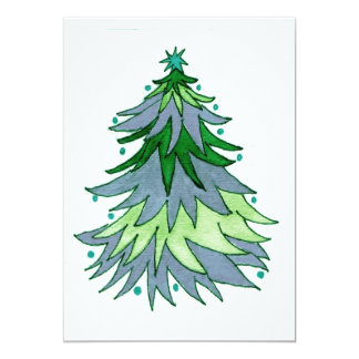 Muted Blue and Greens Christmas Tree Card