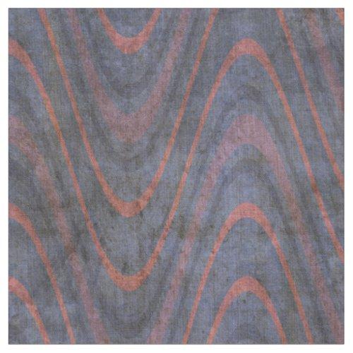 Muted Blue Mauve Orange Waves Fabric