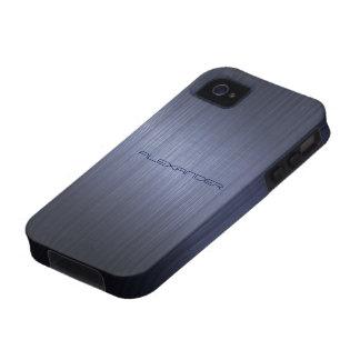 Muted Blue Metallic Look Pattern-Monogram Vibe iPhone 4 Cases