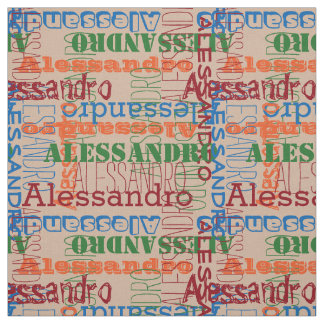 Muted Brights Modern Name Collage Fabric