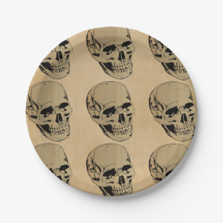 Muted Brown Skull Head Paper Plate
