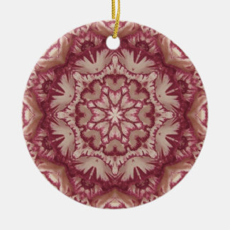 Muted Burgundy and Ivory Victorian Floral Ceramic Ornament