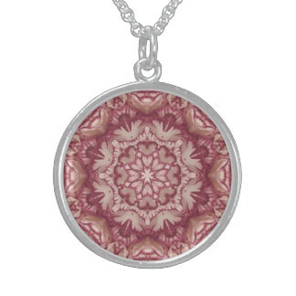 Muted Burgundy and Ivory Victorian Floral Sterling Silver Necklace