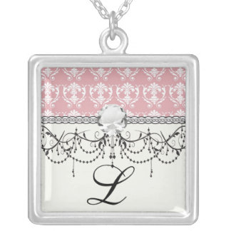 muted carnation pink and cream white damask square pendant necklace