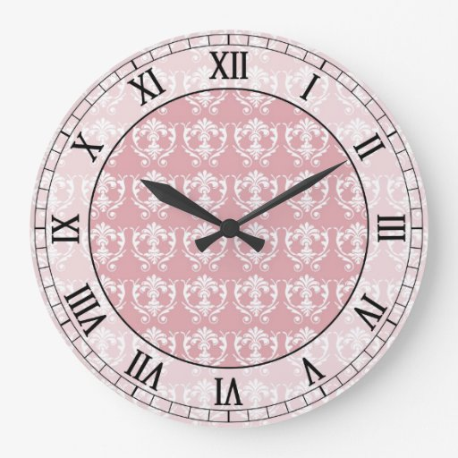muted carnation pink cream damask roman numerals wallclocks