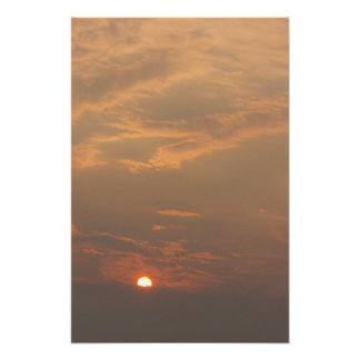 Muted Colors Cloudy Sunset Poster