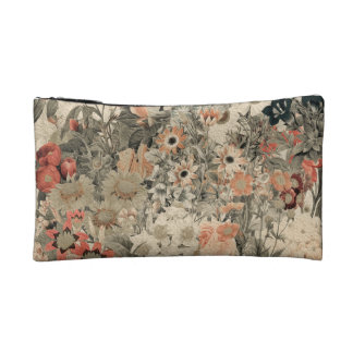 Muted Colors flower collage Makeup Bags