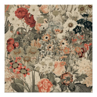 Muted Colors flower collage Poster