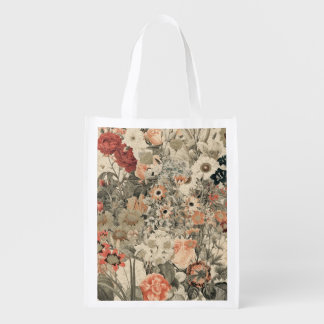 Muted Colors flower collage Reusable Grocery Bag