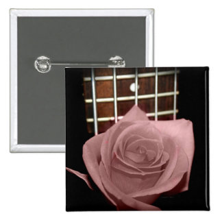 Muted dark pink rose with five string bass fboard 2 inch square button