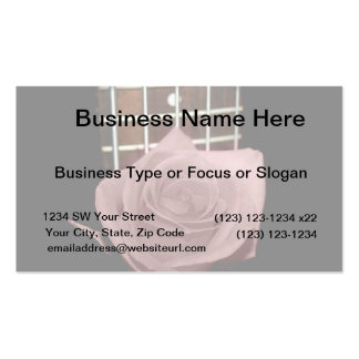 Muted dark pink rose with five string bass fboard business card