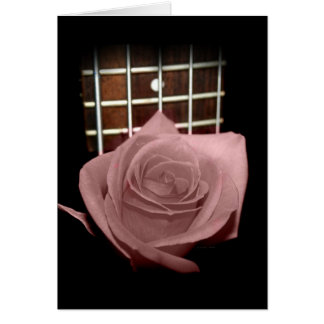 Muted dark pink rose with five string bass fboard greeting card