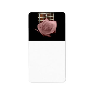 Muted dark pink rose with five string bass fboard custom address label